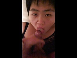 My little panda GF taking a big load in her tiny Asian mouth