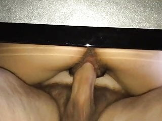 Hairy Asian Teen Takes a Big White Cock