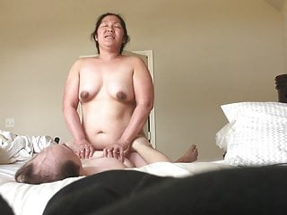 Chubby BBW Asian Wife Riding Cock Bouncing Tits Part2
