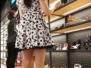 Teen upskirt browsing shoes