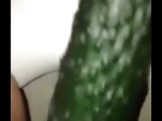 Chinese XiaoShimin masturbate with cucumber