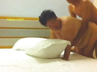 Chinese busty granny fucked with young guy