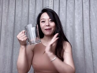 Dumb chubby Chinese cunt - Pissing in a glass