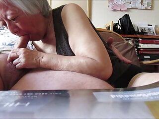 80 year old Chinese granny sucks cock