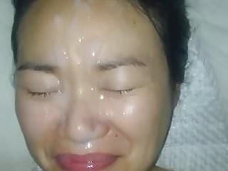 Long loads on her face